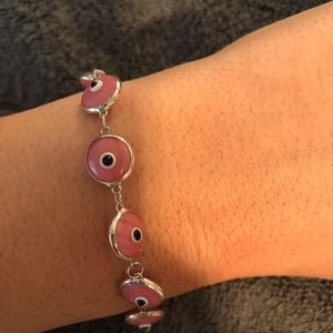 Jewelry - New Sterling Silver pink stone evil eye bracelet